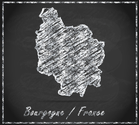 mines: Map of Burgundy as chalkboard Stock Photo