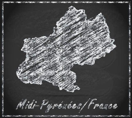 toulouse: Map of Midi-Pyrenees as chalkboard