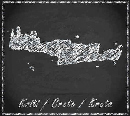 Map of Crete as chalkboard Stock Photo