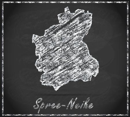 Map of Spree-Neisse as chalkboard