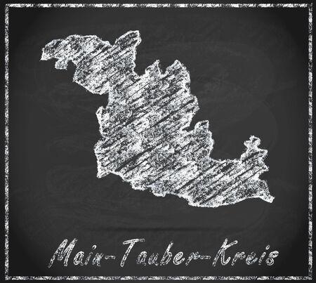 wertheim: Map of Main-Tauber-Kreis as chalkboard Stock Photo