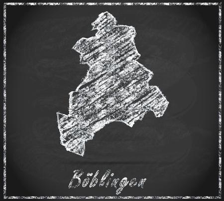 rut: Map of Boeblingen as chalkboard Stock Photo