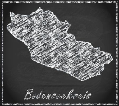 friedrichshafen: Map of Bodenseekreis as chalkboard