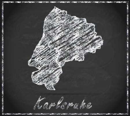 karlsruhe: Map of Karlsruhe as chalkboard