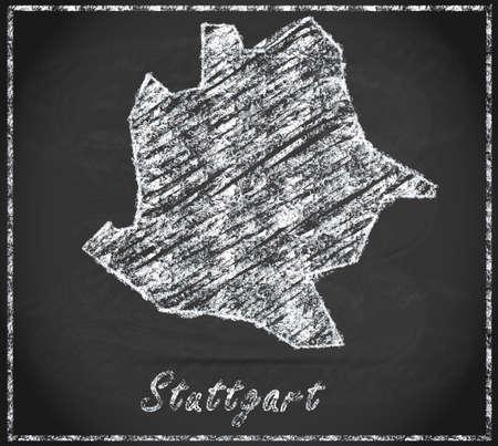 stuttgart: Map of Stuttgart as chalkboard Stock Photo