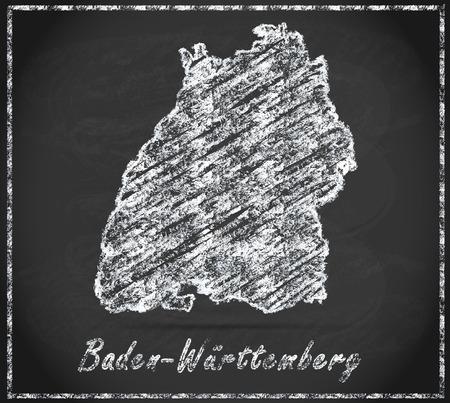 Kaart van Baden-Wuerttemberg als krijtbord Stockfoto