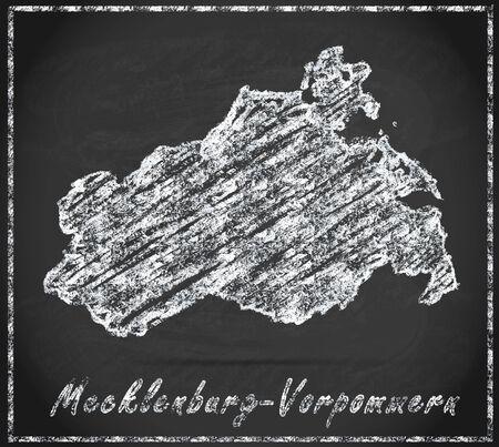 mecklenburg  western pomerania: Map of Mecklenburg-Western Pomerania as chalkboard