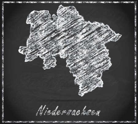 lower: Map of Lower Saxony as chalkboard