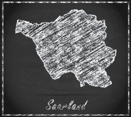 saarlouis: Map of Saarland as chalkboard Stock Photo