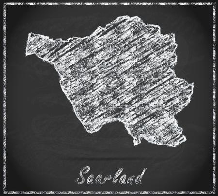 saarland: Map of Saarland as chalkboard Stock Photo