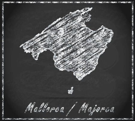majorca: Map of mallorca as chalkboard