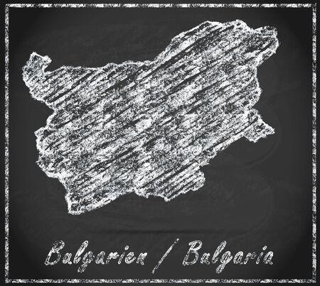 ruse: Map of Bulgaria as chalkboard