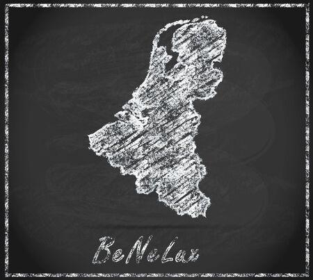 Kaart van de Benelux-landen als krijtbord