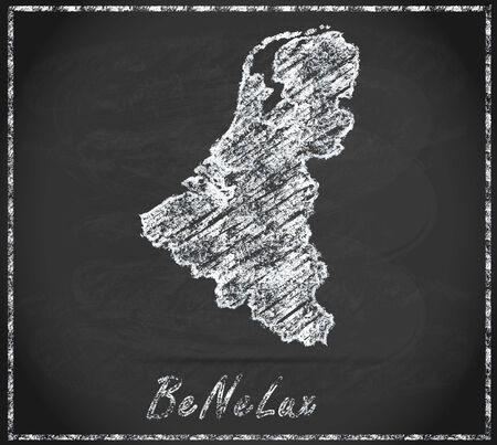 benelux: Map of Benelux countries as chalkboard