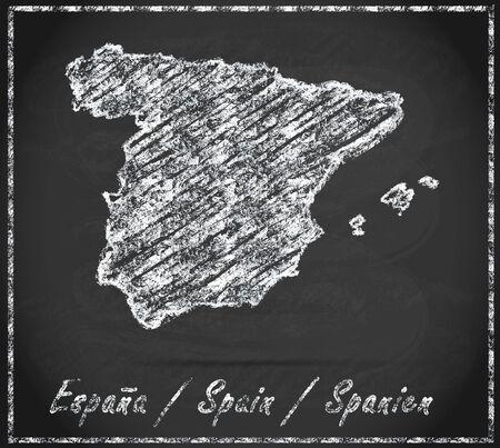 bilbao: Map of Spain as chalkboard