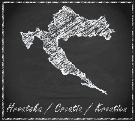 Map of Croatia as chalkboard
