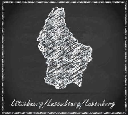 luxembourg: Map of Luxembourg as chalkboard