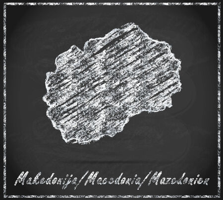 macedonia: Map of Macedonia as chalkboard