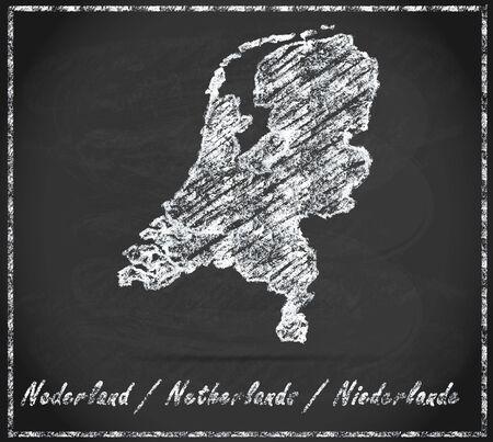 Kaart van Nederland als krijtbord