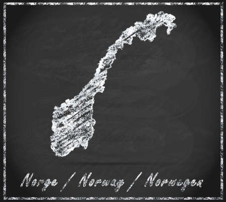kristiansand: Map of Norway as chalkboard