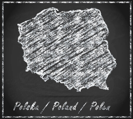 poland: Map of Poland as chalkboard