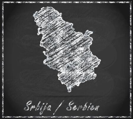 Map of Serbia as chalkboard