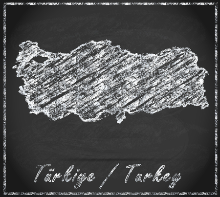bursa: Map of Turkey as chalkboard