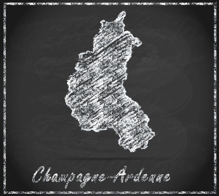 Map of Champagne-Ardenne as chalkboard Stock Photo