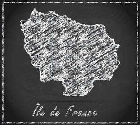 ile de france: Map of Ile-de-France as chalkboard