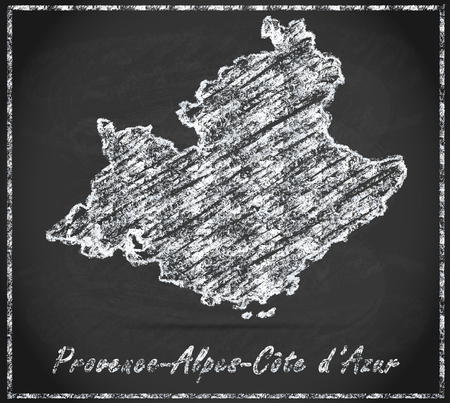 azur: Map of Provence-Alpes-Cote d Azur as chalkboard