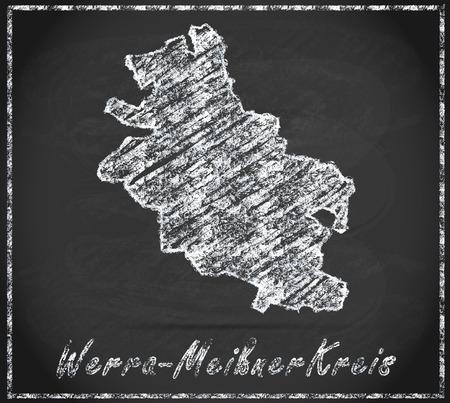 hessian: Map of Werra-Meissner-Kreis as chalkboard