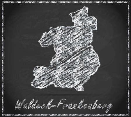 Map of Waldeck-Frankenberg as chalkboard Stock Photo