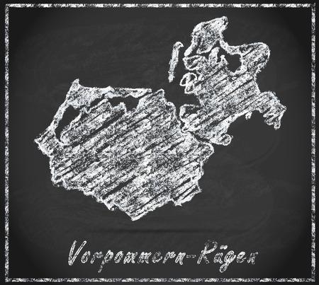 Mappa di Vorpommern-Ruegen come lavagna Archivio Fotografico - 35483205