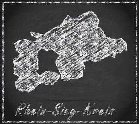 Map of Rhein-Sieg-Kreis as chalkboard Reklamní fotografie