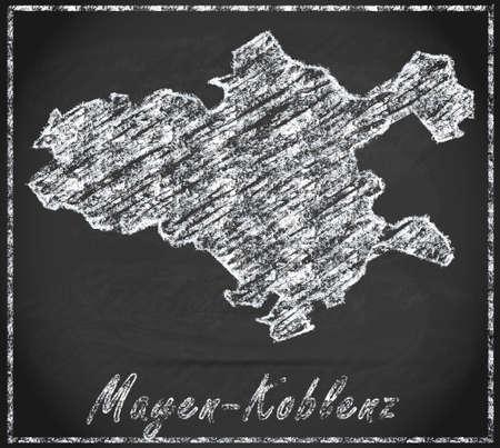 spay: Map of Mayen-Koblenz as chalkboard