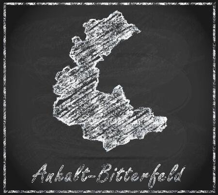 cosa: Map of Anhalt-Bitterfeld as chalkboard