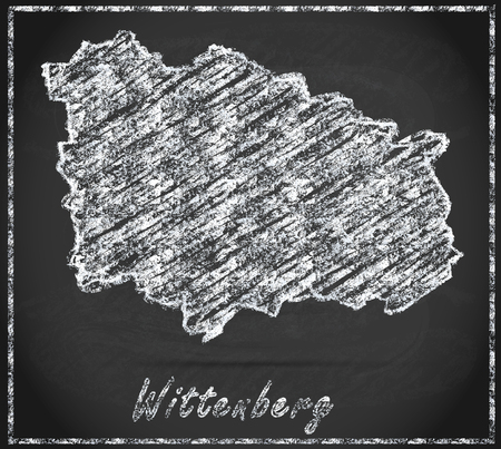 magpie: Map of Wittenberg as chalkboard Stock Photo