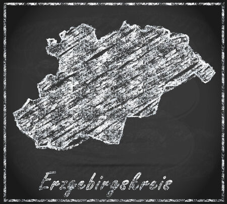 schneeberg: Map of Erzgebirgskreis as chalkboard
