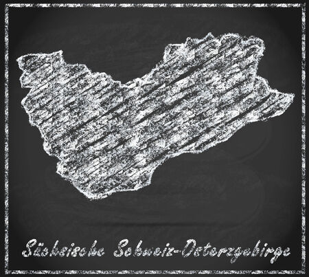 ore: Map of Saxon-Switzerland-Eastern Ore Mountains as chalkboard Stock Photo