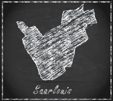 saarlouis: Mapa de Saarlouis como pizarra Foto de archivo