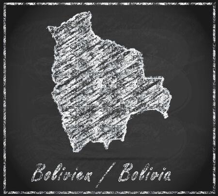 cochabamba: Map of Bolivia as chalkboard Stock Photo