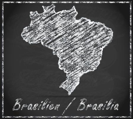belem: Map of Brazil as chalkboard Stock Photo