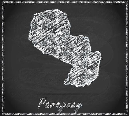 Map of Paraguay as chalkboard Banco de Imagens
