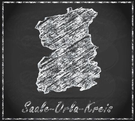orla: Map of Saale-Orla-Kreis as chalkboard Stock Photo