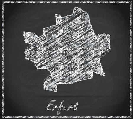 erfurt: Map of Erfurt as chalkboard Stock Photo