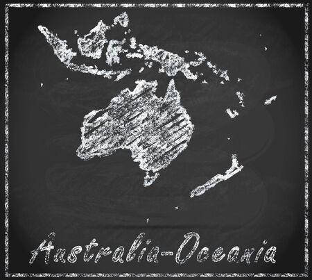 canberra: Map of australia-oceania as chalkboard