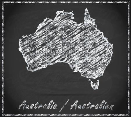 gold coast: Map of Australia as chalkboard