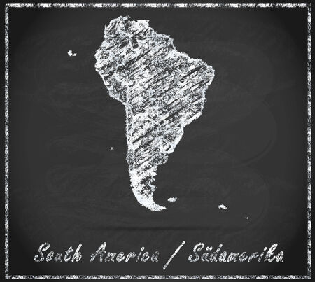 georgetown: Map of South America as chalkboard Stock Photo