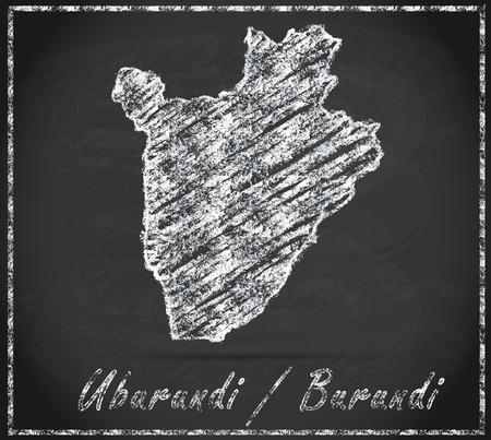 burundi: Map of burundi as chalkboard