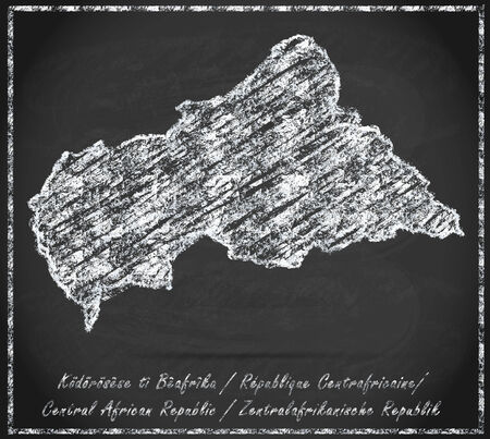 central african republic: Map of Central African Republic as chalkboard Stock Photo